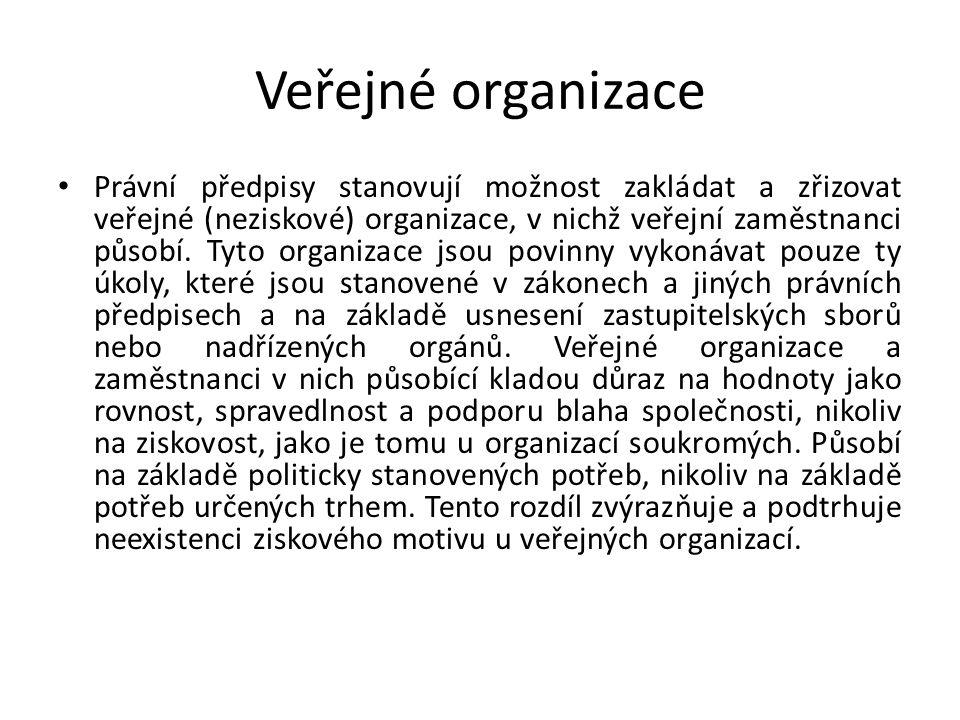 Veřejné organizace Právní předpisy stanovují možnost zakládat a zřizovat veřejné (neziskové) organizace, v nichž veřejní zaměstnanci působí.