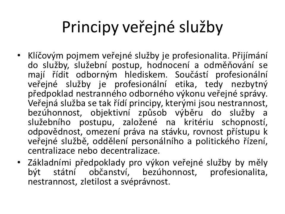 Principy veřejné služby Klíčovým pojmem veřejné služby je profesionalita.