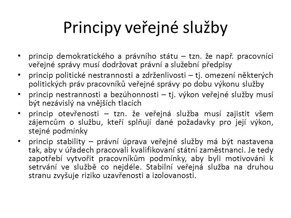 Principy veřejné služby princip demokratického a právního státu – tzn.