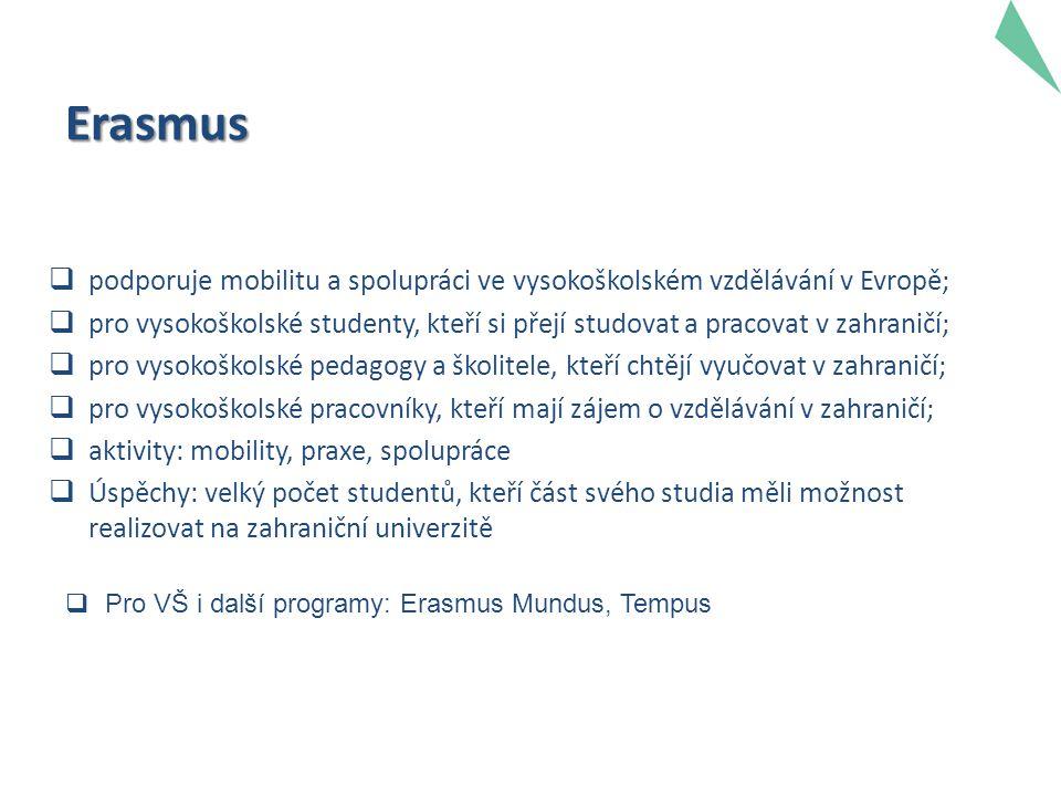 Erasmus  podporuje mobilitu a spolupráci ve vysokoškolském vzdělávání v Evropě;  pro vysokoškolské studenty, kteří si přejí studovat a pracovat v zahraničí;  pro vysokoškolské pedagogy a školitele, kteří chtějí vyučovat v zahraničí;  pro vysokoškolské pracovníky, kteří mají zájem o vzdělávání v zahraničí;  aktivity: mobility, praxe, spolupráce  Úspěchy: velký počet studentů, kteří část svého studia měli možnost realizovat na zahraniční univerzitě  Pro VŠ i další programy: Erasmus Mundus, Tempus