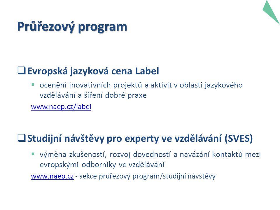 Průřezový program  Evropská jazyková cena Label  ocenění inovativních projektů a aktivit v oblasti jazykového vzdělávání a šíření dobré praxe www.naep.cz/label  Studijní návštěvy pro experty ve vzdělávání (SVES)  výměna zkušeností, rozvoj dovedností a navázání kontaktů mezi evropskými odborníky ve vzdělávání www.naep.czwww.naep.cz - sekce průřezový program/studijní návštěvy