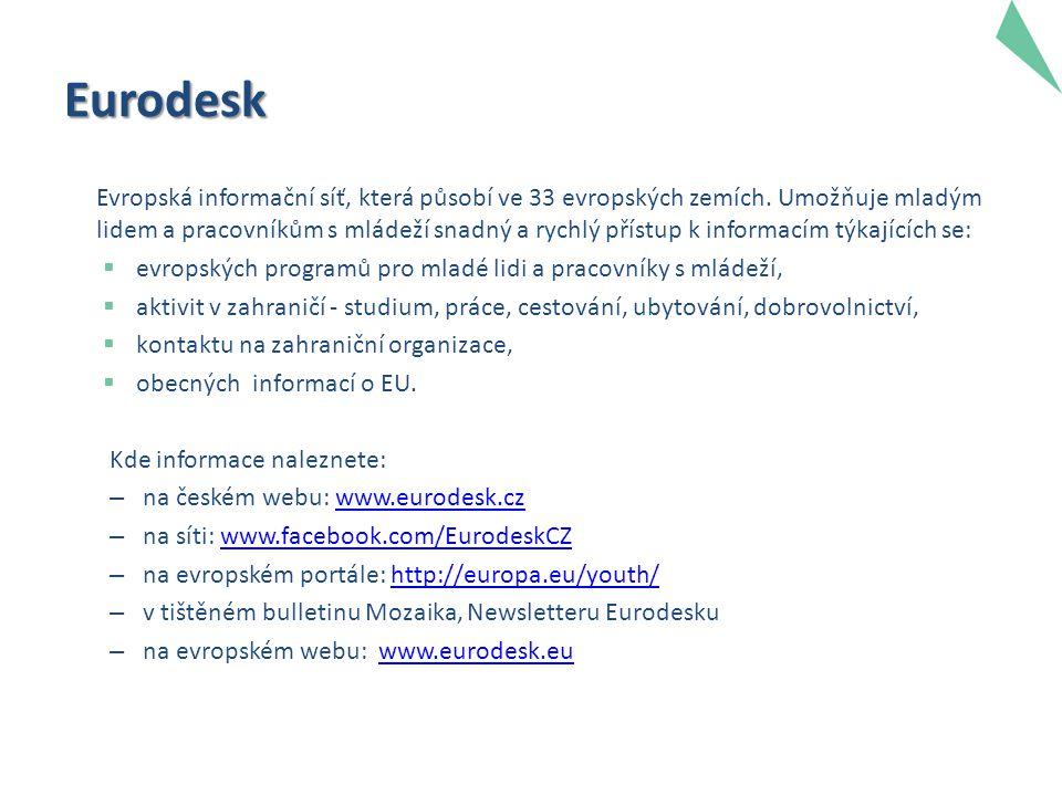 Eurodesk Evropská informační síť, která působí ve 33 evropských zemích. Umožňuje mladým lidem a pracovníkům s mládeží snadný a rychlý přístup k inform
