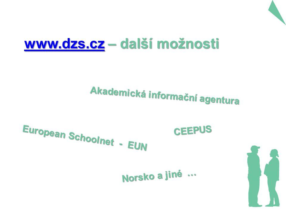 European Schoolnet - EUN CEEPUS Akademická informační agentura www.dzs.czwww.dzs.cz – další možnosti www.dzs.cz Norsko a jiné …