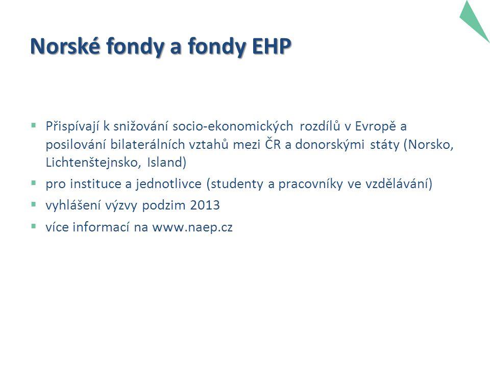 Norské fondy a fondy EHP  Přispívají k snižování socio-ekonomických rozdílů v Evropě a posilování bilaterálních vztahů mezi ČR a donorskými státy (Norsko, Lichtenštejnsko, Island)  pro instituce a jednotlivce (studenty a pracovníky ve vzdělávání)  vyhlášení výzvy podzim 2013  více informací na www.naep.cz