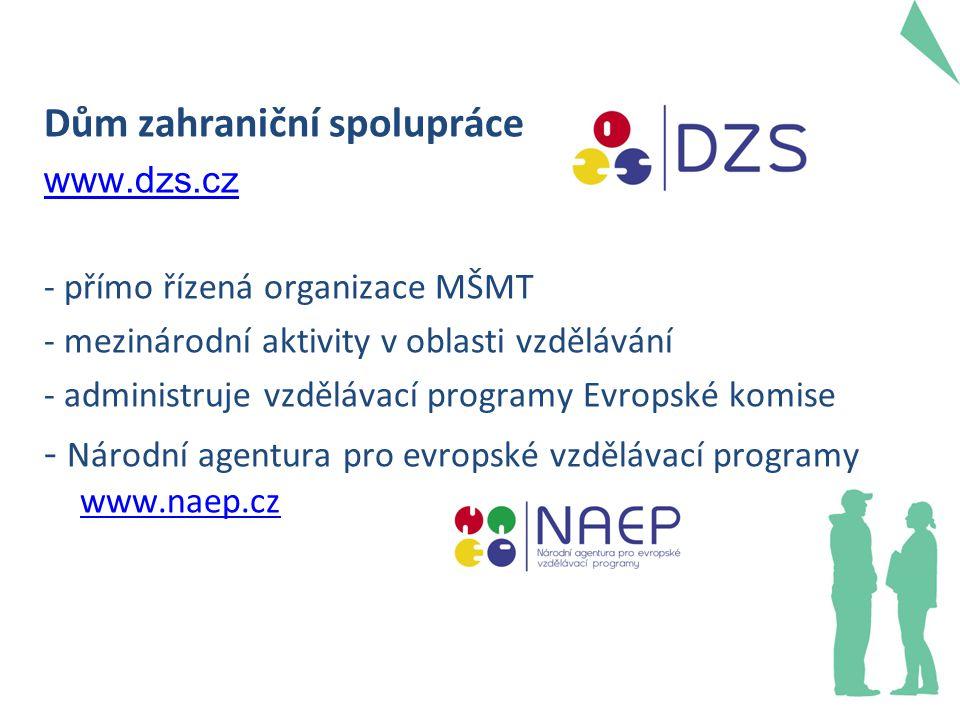 Dům zahraniční spolupráce www.dzs.cz - přímo řízená organizace MŠMT - mezinárodní aktivity v oblasti vzdělávání - administruje vzdělávací programy Evr