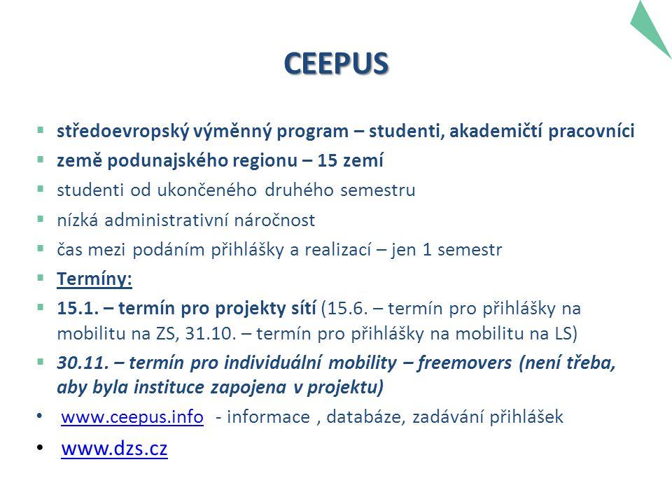 CEEPUS  středoevropský výměnný program – studenti, akademičtí pracovníci  země podunajského regionu – 15 zemí  studenti od ukončeného druhého semestru  nízká administrativní náročnost  čas mezi podáním přihlášky a realizací – jen 1 semestr  Termíny:  15.1.