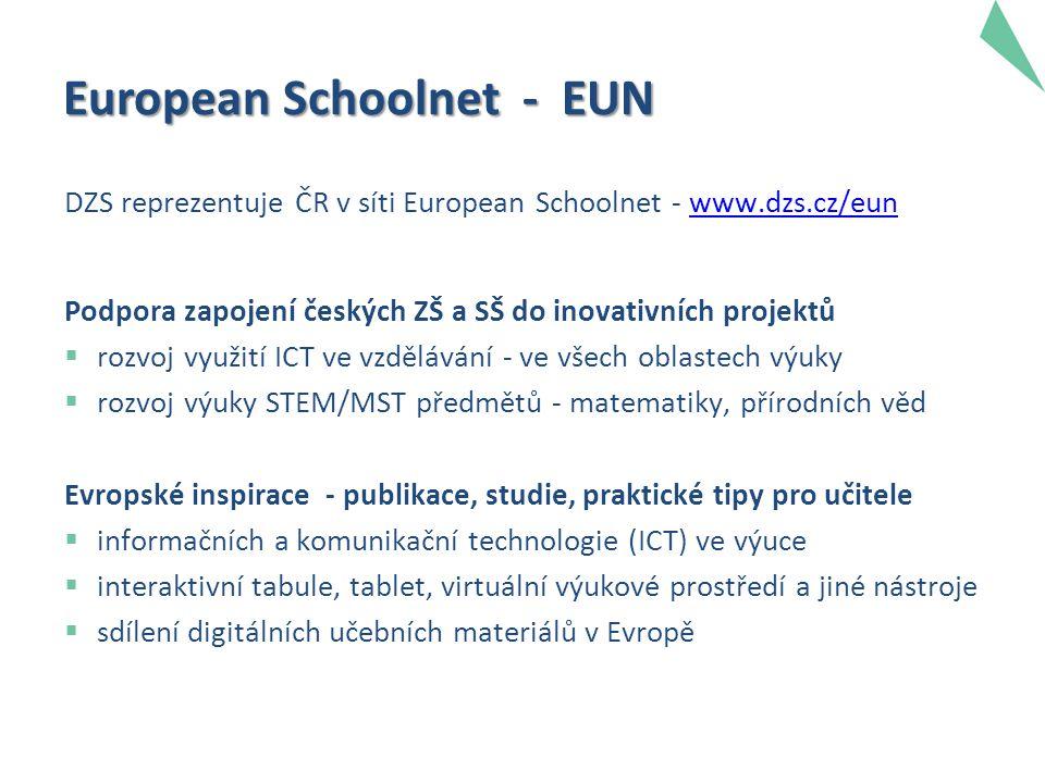 European Schoolnet - EUN DZS reprezentuje ČR v síti European Schoolnet - www.dzs.cz/eunwww.dzs.cz/eun Podpora zapojení českých ZŠ a SŠ do inovativních