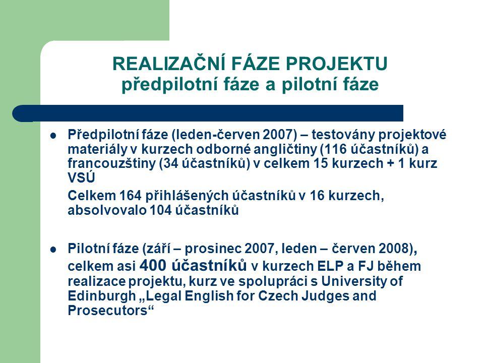 """REALIZAČNÍ FÁZE PROJEKTU předpilotní fáze a pilotní fáze Předpilotní fáze (leden-červen 2007) – testovány projektové materiály v kurzech odborné angličtiny (116 účastníků) a francouzštiny (34 účastníků) v celkem 15 kurzech + 1 kurz VSÚ Celkem 164 přihlášených účastníků v 16 kurzech, absolvovalo 104 účastníků Pilotní fáze (září – prosinec 2007, leden – červen 2008), celkem asi 400 účastníků v kurzech ELP a FJ během realizace projektu, kurz ve spolupráci s University of Edinburgh """"Legal English for Czech Judges and Prosecutors"""