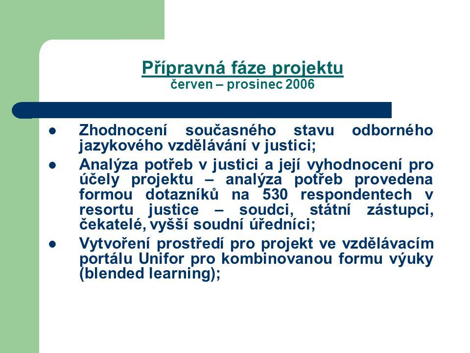 Přípravná fáze projektu červen – prosinec 2006 Zhodnocení současného stavu odborného jazykového vzdělávání v justici; Analýza potřeb v justici a její vyhodnocení pro účely projektu – analýza potřeb provedena formou dotazníků na 530 respondentech v resortu justice – soudci, státní zástupci, čekatelé, vyšší soudní úředníci; Vytvoření prostředí pro projekt ve vzdělávacím portálu Unifor pro kombinovanou formu výuky (blended learning);