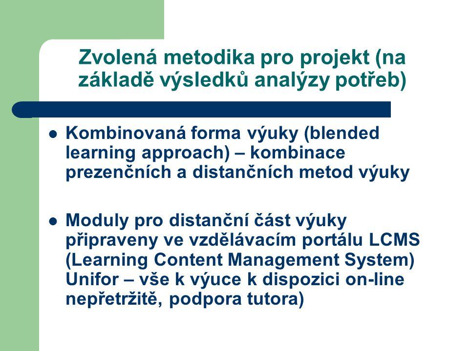 Zvolená metodika pro projekt (na základě výsledků analýzy potřeb) Kombinovaná forma výuky (blended learning approach) – kombinace prezenčních a distančních metod výuky Moduly pro distanční část výuky připraveny ve vzdělávacím portálu LCMS (Learning Content Management System) Unifor – vše k výuce k dispozici on-line nepřetržitě, podpora tutora)