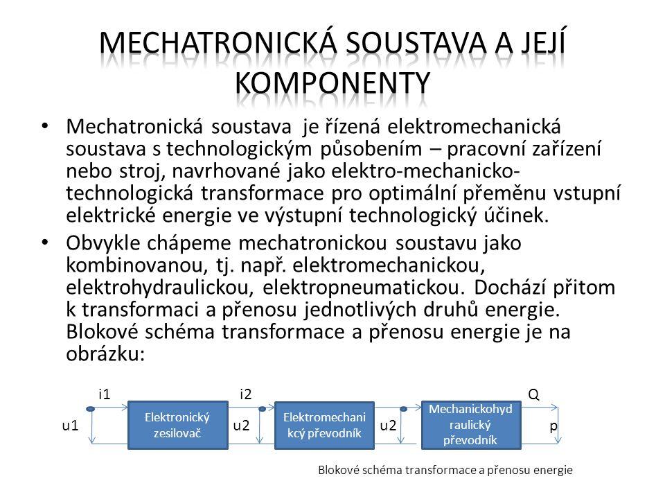 Mechatronická soustava je řízená elektromechanická soustava s technologickým působením – pracovní zařízení nebo stroj, navrhované jako elektro-mechani