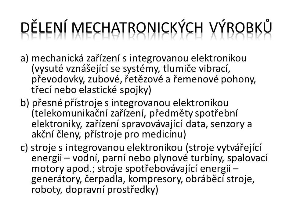 a) mechanická zařízení s integrovanou elektronikou (vysuté vznášející se systémy, tlumiče vibrací, převodovky, zubové, řetězové a řemenové pohony, tře