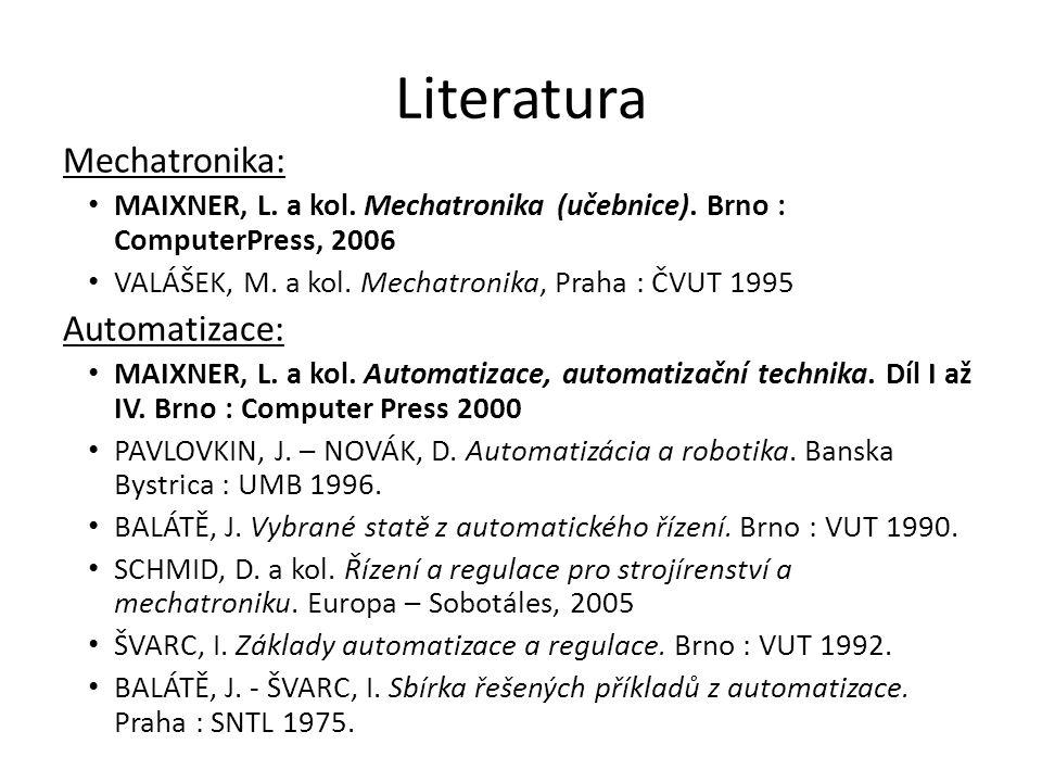 Literatura Mechatronika: MAIXNER, L. a kol. Mechatronika (učebnice). Brno : ComputerPress, 2006 VALÁŠEK, M. a kol. Mechatronika, Praha : ČVUT 1995 Aut