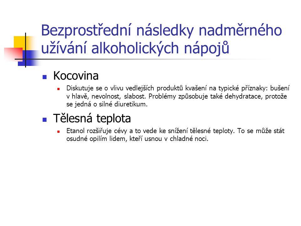 Bezprostřední následky nadměrného užívání alkoholických nápojů Kocovina Diskutuje se o vlivu vedlejších produktů kvašení na typické příznaky: bušení v