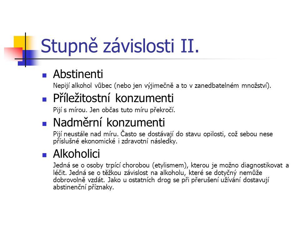 Stupně závislosti II. Abstinenti Nepijí alkohol vůbec (nebo jen výjimečně a to v zanedbatelném množství). Příležitostní konzumenti Pijí s mírou. Jen o