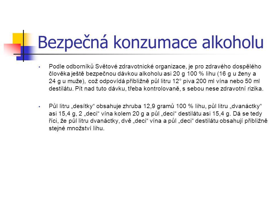 Bezpečná konzumace alkoholu  Podle odborníků Světové zdravotnické organizace, je pro zdravého dospělého člověka ještě bezpečnou dávkou alkoholu asi 2