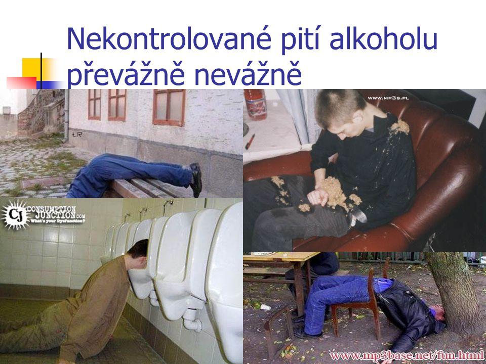 Nekontrolované pití alkoholu převážně nevážně