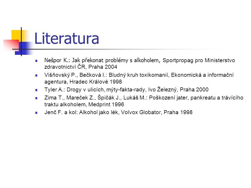 Literatura Nešpor K.: Jak překonat problémy s alkoholem, Sportpropag pro Ministerstvo zdravotnictví ČR, Praha 2004 Višňovský P., Bečková I.: Bludný kr