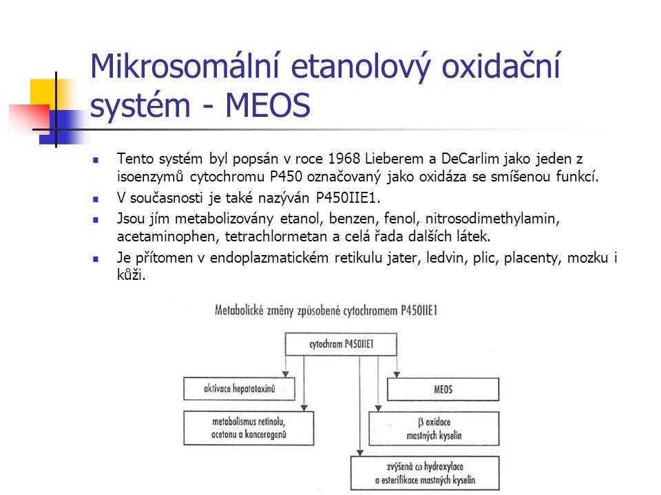Mikrosomální etanolový oxidační systém - MEOS Tento systém byl popsán v roce 1968 Lieberem a DeCarlim jako jeden z isoenzymů cytochromu P450 označovan