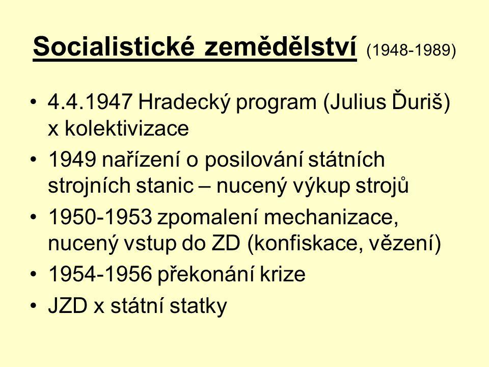 Socialistické zemědělství (1948-1989) 4.4.1947 Hradecký program (Julius Ďuriš) x kolektivizace 1949 nařízení o posilování státních strojních stanic –