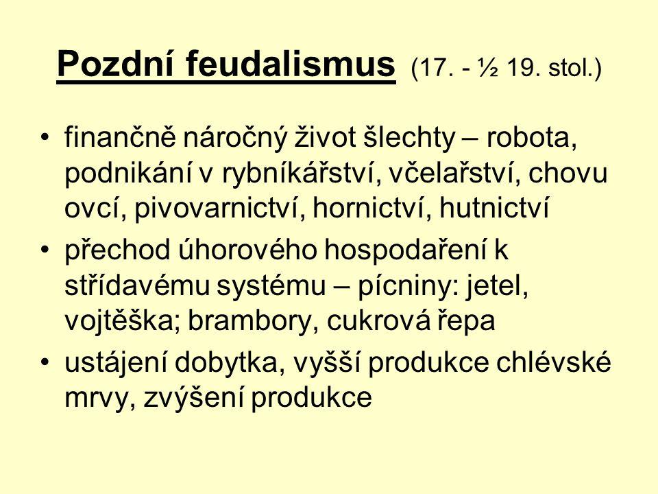 Pozdní feudalismus (17. - ½ 19. stol.) finančně náročný život šlechty – robota, podnikání v rybníkářství, včelařství, chovu ovcí, pivovarnictví, horni