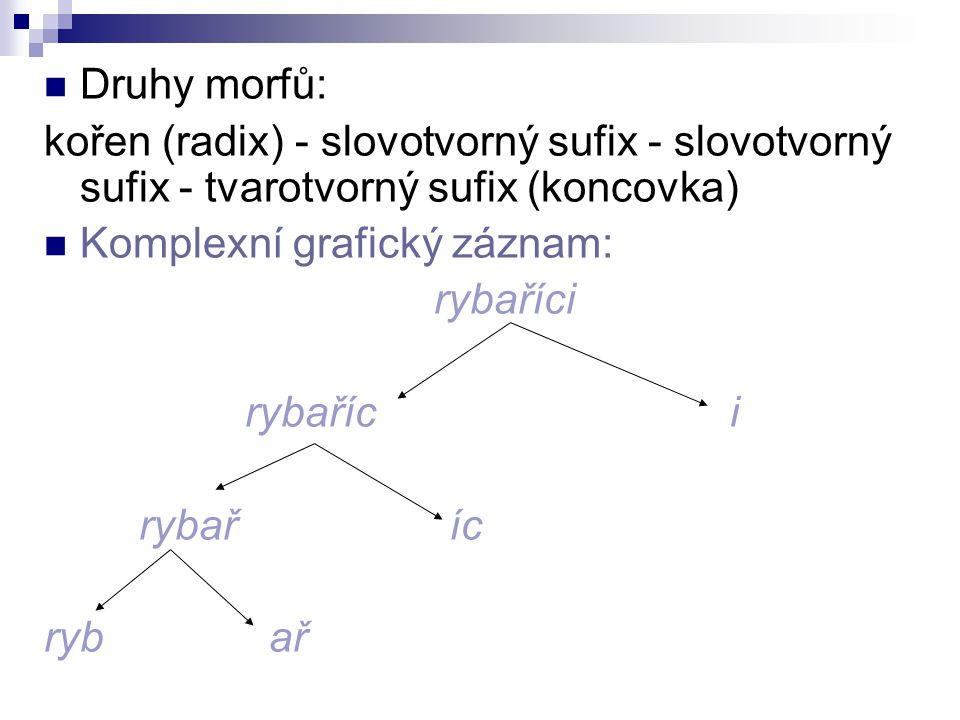 Druhy morfů: kořen (radix) - slovotvorný sufix - slovotvorný sufix - tvarotvorný sufix (koncovka) Komplexní grafický záznam: rybaříci rybař íc ryb ař