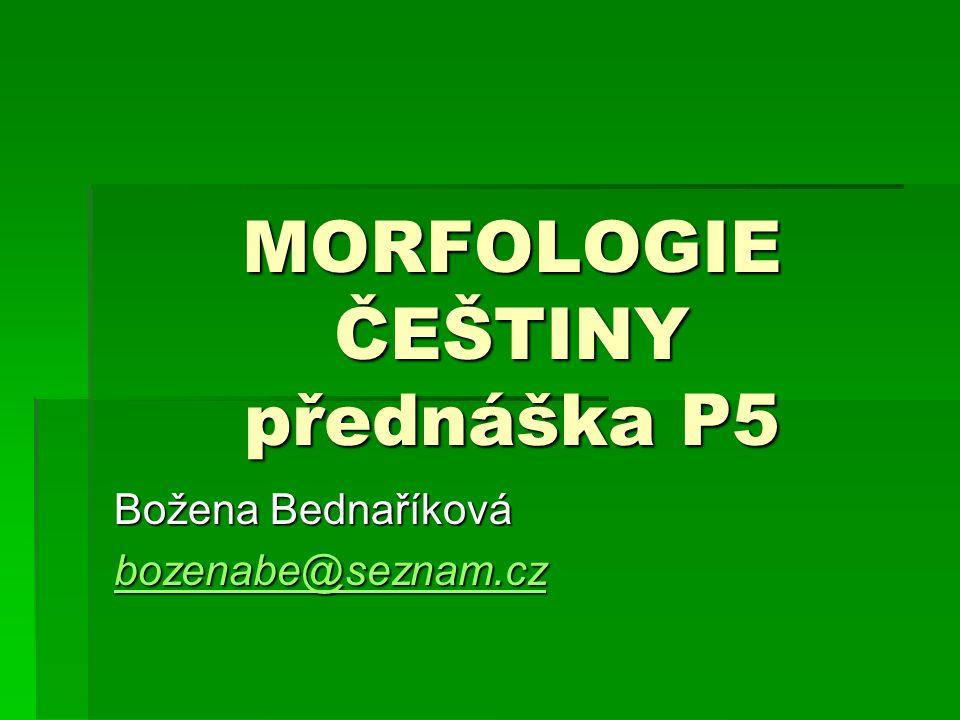 MORFOLOGIE ČEŠTINY přednáška P5 Božena Bednaříková bozenabe@seznam.cz