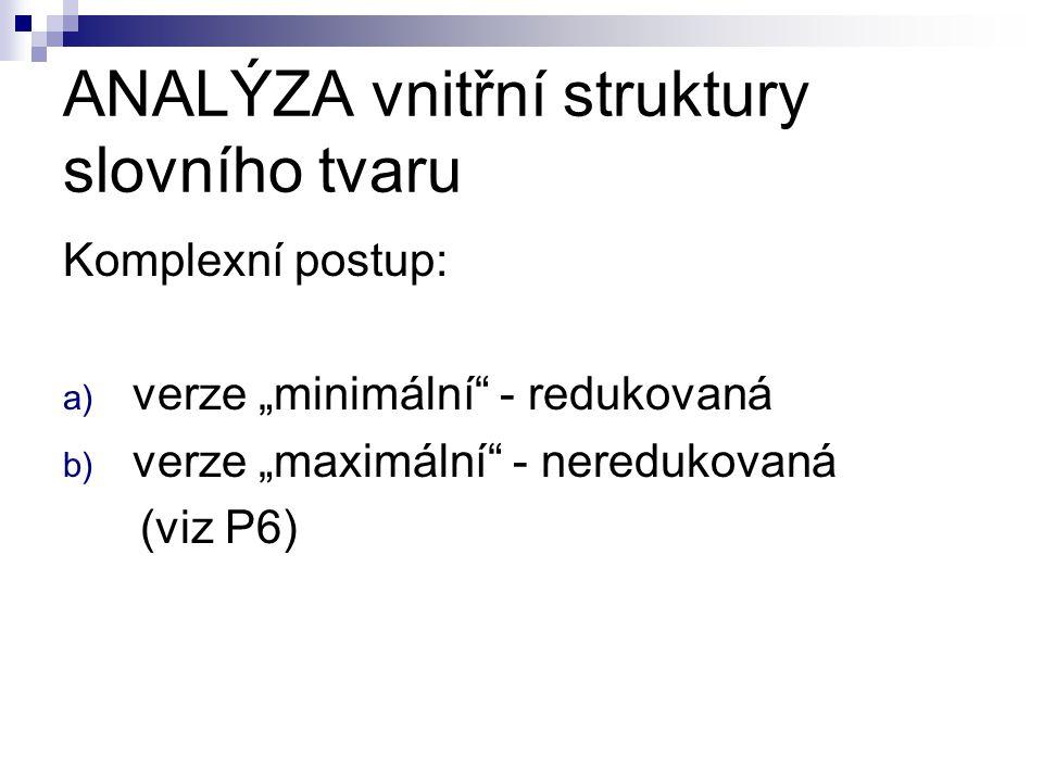 """ANALÝZA vnitřní struktury slovního tvaru Komplexní postup: a) verze """"minimální"""" - redukovaná b) verze """"maximální"""" - neredukovaná (viz P6)"""