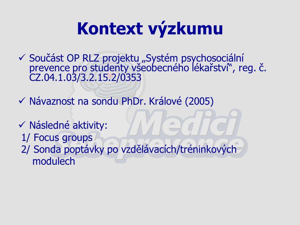 """Kontext výzkumu Součást OP RLZ projektu """"Systém psychosociální prevence pro studenty všeobecného lékařství"""", reg. č. CZ.04.1.03/3.2.15.2/0353 Návaznos"""