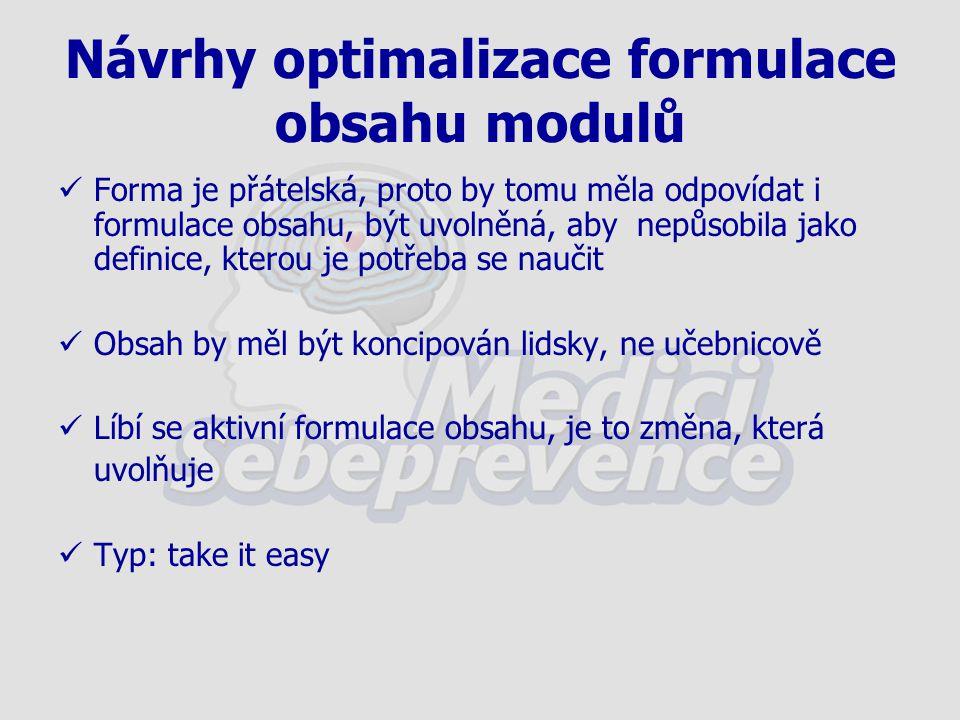 Návrhy optimalizace formulace obsahu modulů Forma je přátelská, proto by tomu měla odpovídat i formulace obsahu, být uvolněná, aby nepůsobila jako definice, kterou je potřeba se naučit Obsah by měl být koncipován lidsky, ne učebnicově Líbí se aktivní formulace obsahu, je to změna, která uvolňuje Typ: take it easy