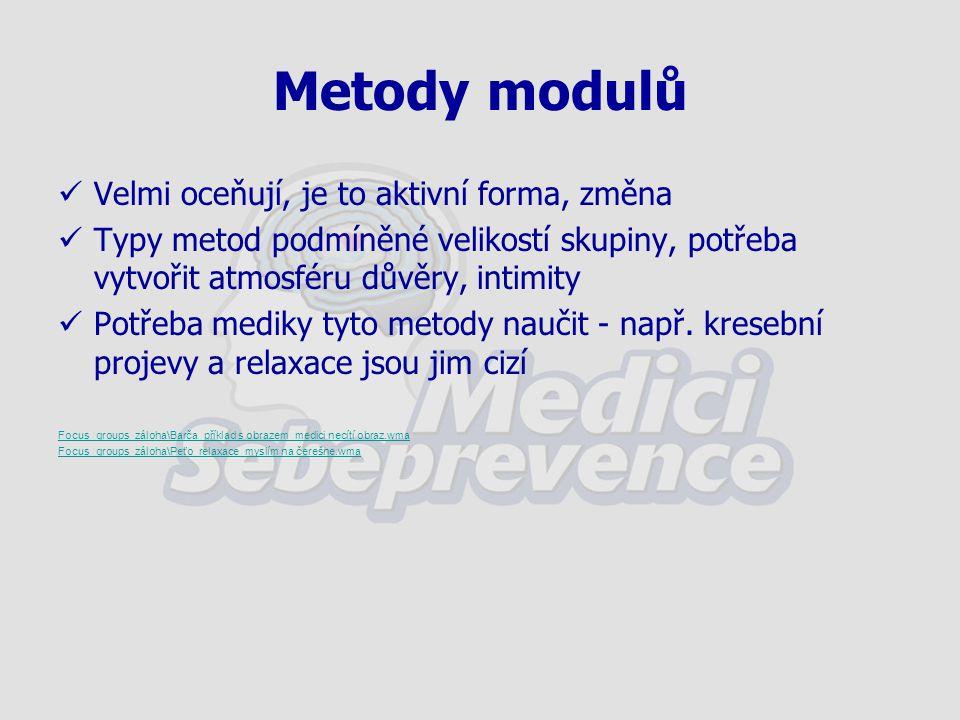 Metody modulů Velmi oceňují, je to aktivní forma, změna Typy metod podmíněné velikostí skupiny, potřeba vytvořit atmosféru důvěry, intimity Potřeba mediky tyto metody naučit - např.