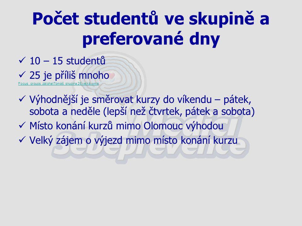 Počet studentů ve skupině a preferované dny 10 – 15 studentů 25 je příliš mnoho Focus_groups_záloha\Tomáš_skupina 25 velká.wma Výhodnější je směrovat kurzy do víkendu – pátek, sobota a neděle (lepší než čtvrtek, pátek a sobota) Místo konání kurzů mimo Olomouc výhodou Velký zájem o výjezd mimo místo konání kurzu
