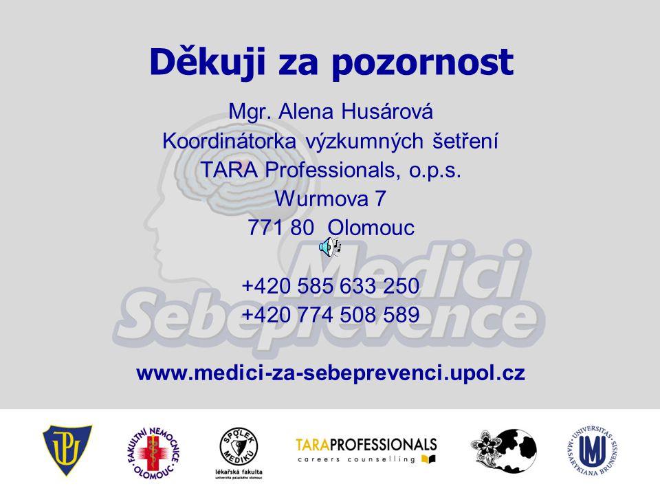 Děkuji za pozornost Mgr. Alena Husárová Koordinátorka výzkumných šetření TARA Professionals, o.p.s. Wurmova 7 771 80 Olomouc +420 585 633 250 +420 774