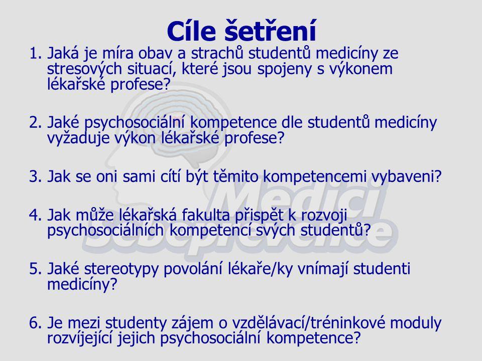 Cíle šetření 1. Jaká je míra obav a strachů studentů medicíny ze stresových situací, které jsou spojeny s výkonem lékařské profese? 2. Jaké psychosoci