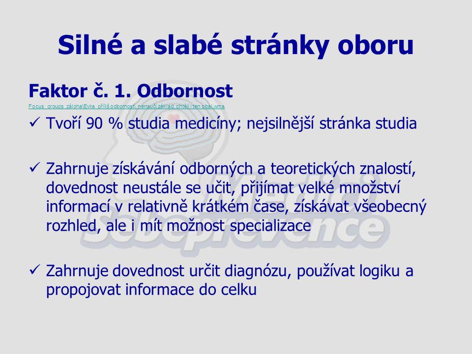 Silné a slabé stránky oboru Faktor č. 1.