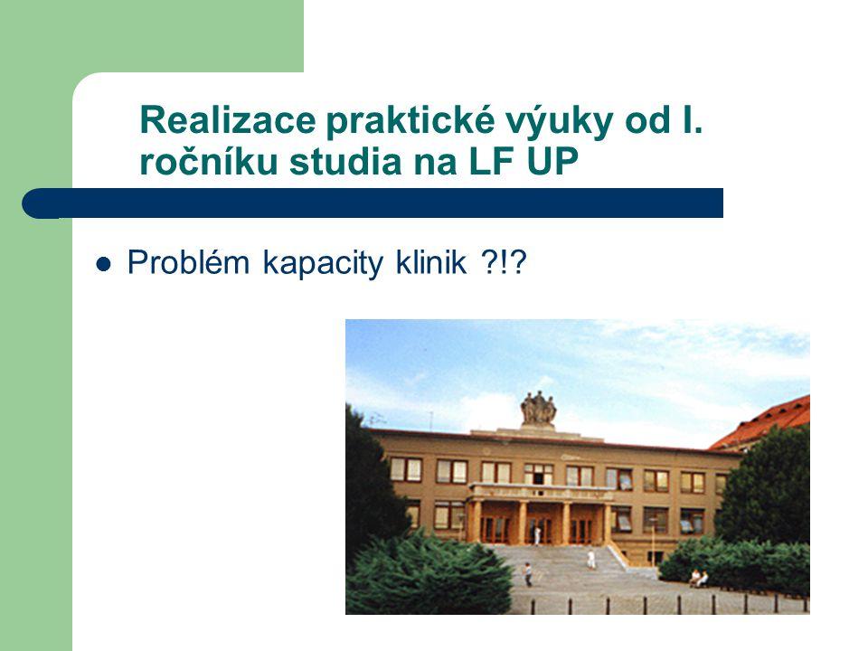 Realizace praktické výuky od I. ročníku studia na LF UP Problém kapacity klinik !