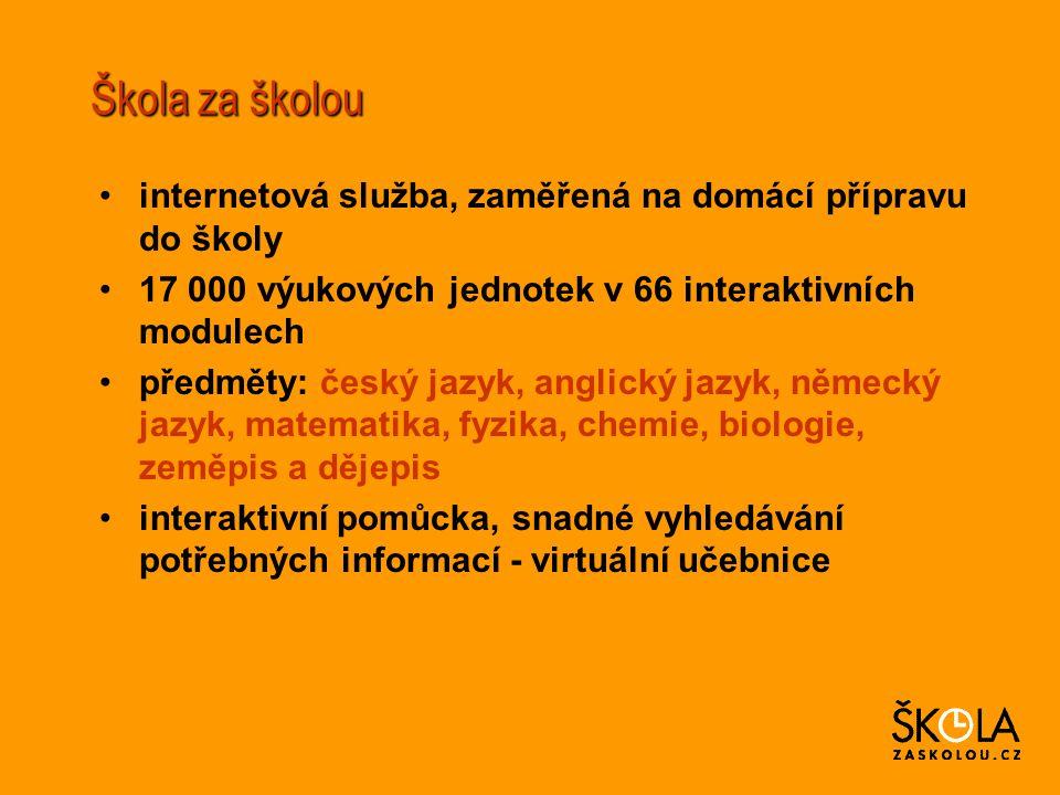 Škola za školou internetová služba, zaměřená na domácí přípravu do školy 17 000 výukových jednotek v 66 interaktivních modulech předměty: český jazyk, anglický jazyk, německý jazyk, matematika, fyzika, chemie, biologie, zeměpis a dějepis interaktivní pomůcka, snadné vyhledávání potřebných informací - virtuální učebnice