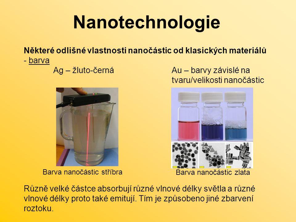 Některé odlišné vlastnosti nanočástic od klasických materiálů - barva Ag – žluto-černáAu – barvy závislé na tvaru/velikosti nanočástic Různě velké částce absorbují různé vlnové délky světla a různé vlnové délky proto také emitují.