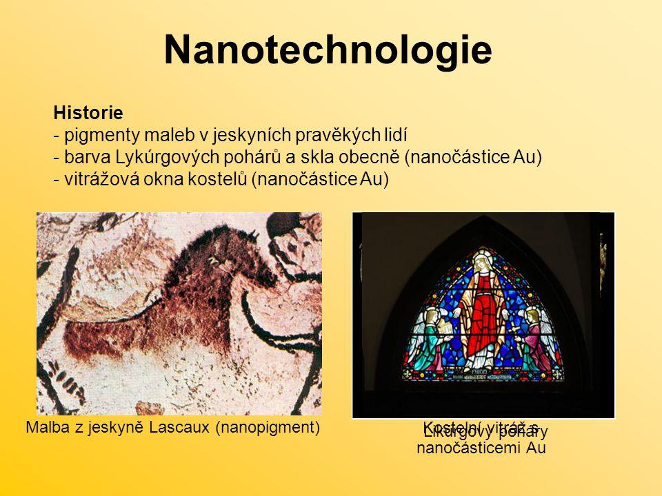 Nanotechnologie Použití nanomateriálů a nanotechnologií - odlehčené sportovní vybavení - voděodolné povrchy a oblečení - povrchy odolné poškrábání Budoucí potenciál využití - samoreplikační výrobní systémy (malé přístroje schopné výroby, ale i obnovy sebe sama) - čistší výroba malých přístrojů a zařízení bez odpadů - vesmírný výtah na oběžnou dráhu Země (pás z nanotrubiček vedoucí od povrchu Země až na obježnou dráho) - bioobleky (např.