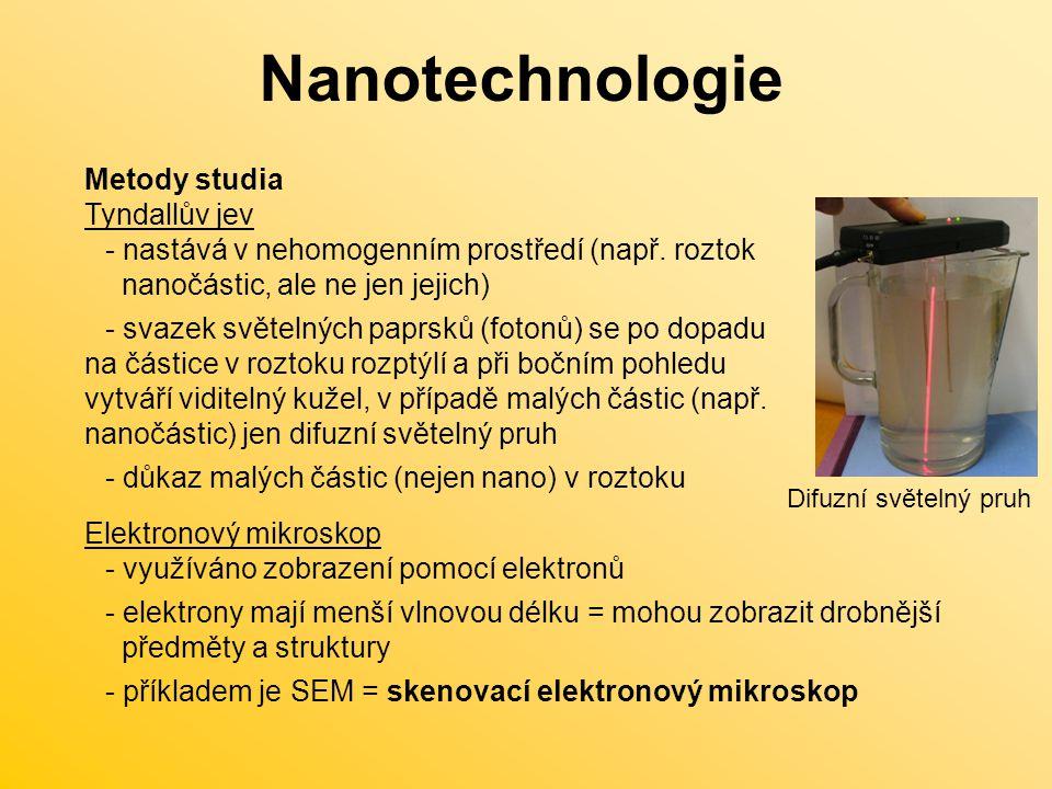 Nanotechnologie Příprava X - příklad přípravy metodou bottom-up: - 5ml roztoku AgNO 3 (0,005 mol/dm 3 ) - 5 ml NH 3 (0,025 mol/dm 3 ) - 10 ml NaOH(0,025 mol/dm 3 ) zamíchat - 5 ml glukózy(0,05 mol/dm 3 ) přidat najednou a ostře míchat 5 minut (proto, aby vznikaly malé částice)  z čirého roztoku vznikají nanočástice stříbra!!.