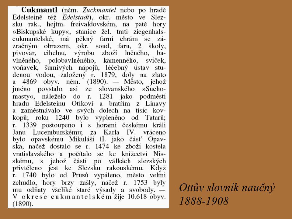 Zuckmantel Edelstadt 1220 – příchod prvních osadníků, objevení zlata 14.