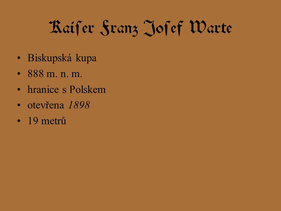 Kaiser Franz Josef Warte Biskupská kupa 888 m. n. m. hranice s Polskem otevřena 1898 19 metrů