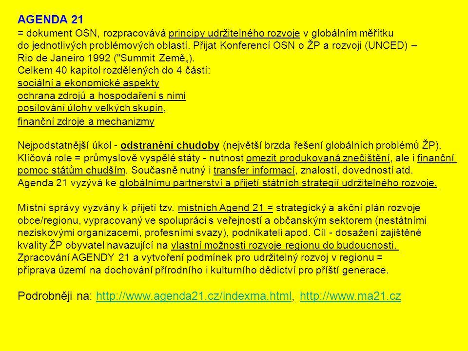 AGENDA 21 = dokument OSN, rozpracovává principy udržitelného rozvoje v globálním měřítku do jednotlivých problémových oblastí. Přijat Konferencí OSN o