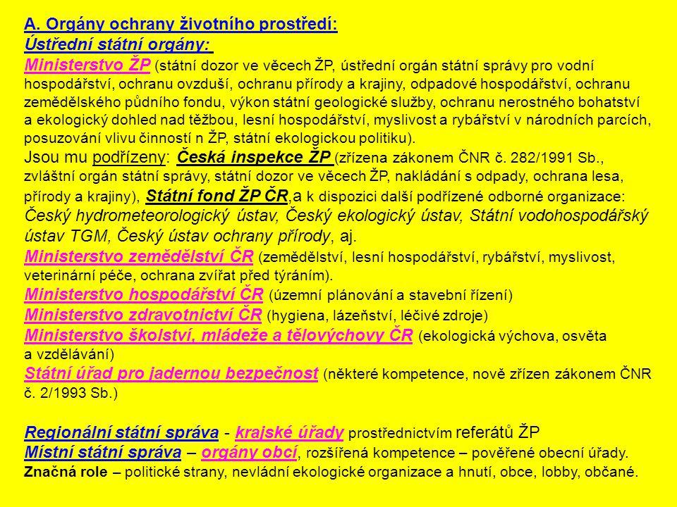 A. Orgány ochrany životního prostředí: Ústřední státní orgány: Ministerstvo ŽP (státní dozor ve věcech ŽP, ústřední orgán státní správy pro vodní hosp