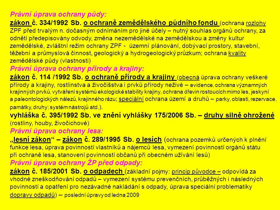 Právní úprava ochrany půdy: zákon č. 334/1992 Sb. o ochraně zemědělského půdního fondu (ochrana rozlohy ZPF před trvalým n. dočasným odnímáním pro jin