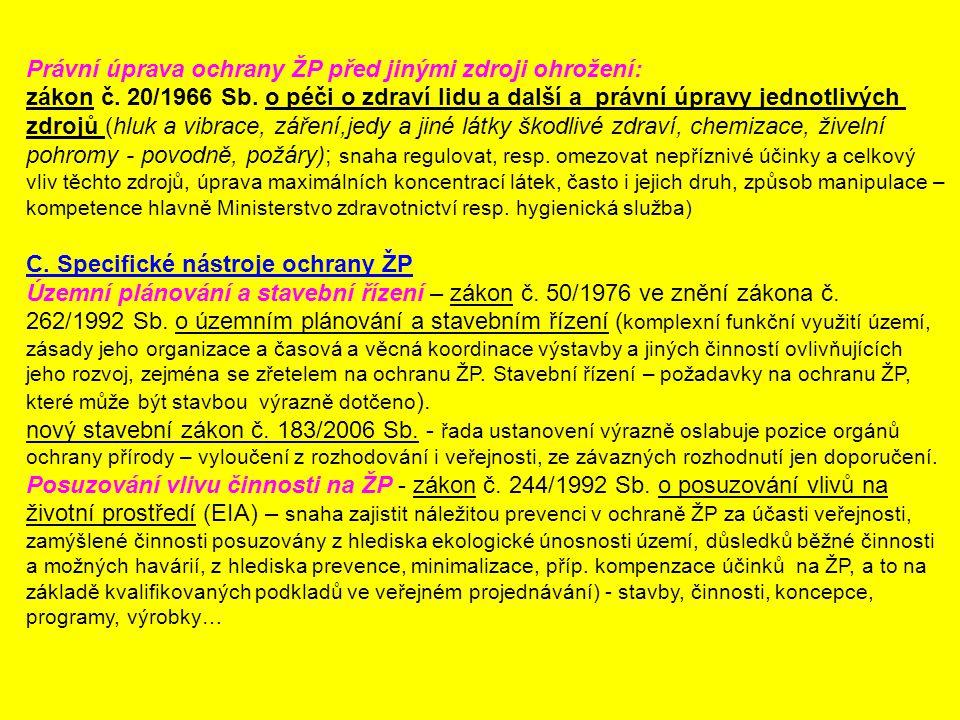 Právní úprava ochrany ŽP před jinými zdroji ohrožení: zákon č. 20/1966 Sb. o péči o zdraví lidu a další a právní úpravy jednotlivých zdrojů (hluk a vi