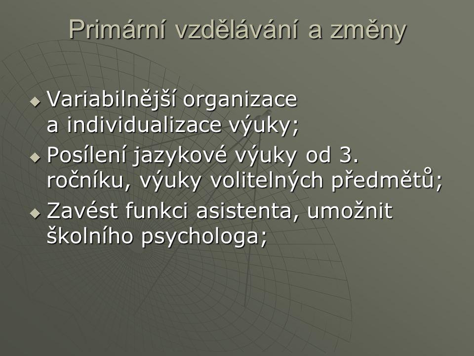 Primární vzdělávání a změny  Variabilnější organizace a individualizace výuky;  Posílení jazykové výuky od 3.