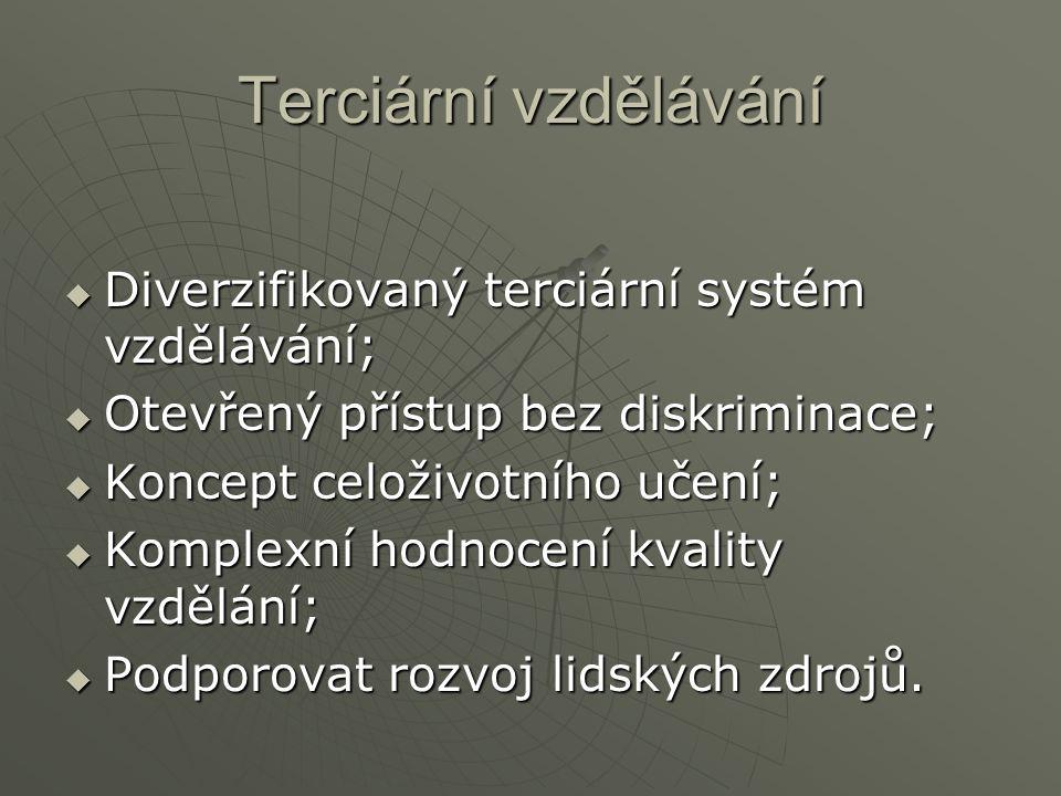 Terciární vzdělávání  Diverzifikovaný terciární systém vzdělávání;  Otevřený přístup bez diskriminace;  Koncept celoživotního učení;  Komplexní hodnocení kvality vzdělání;  Podporovat rozvoj lidských zdrojů.