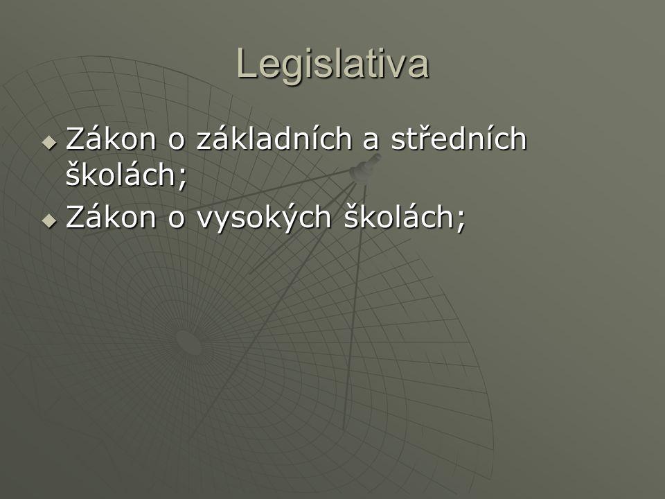 Legislativa  Zákon o základních a středních školách;  Zákon o vysokých školách;