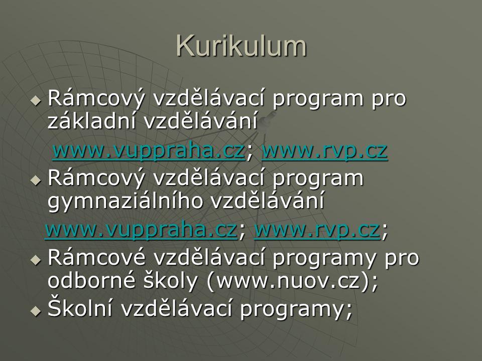 Kurikulum  Rámcový vzdělávací program pro základní vzdělávání www.vuppraha.cz; www.rvp.cz www.vuppraha.cz; www.rvp.czwww.vuppraha.czwww.rvp.czwww.vuppraha.czwww.rvp.cz  Rámcový vzdělávací program gymnaziálního vzdělávání www.vuppraha.cz; www.rvp.cz; www.vuppraha.cz; www.rvp.cz;www.vuppraha.czwww.rvp.czwww.vuppraha.czwww.rvp.cz  Rámcové vzdělávací programy pro odborné školy (www.nuov.cz);  Školní vzdělávací programy;